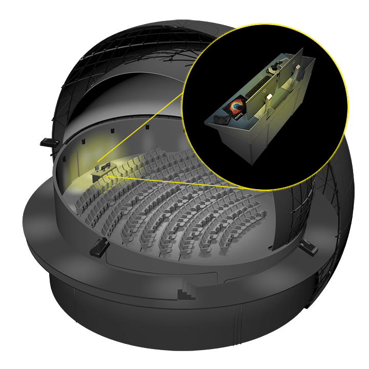 Dome theater illustration with computer console highlighted