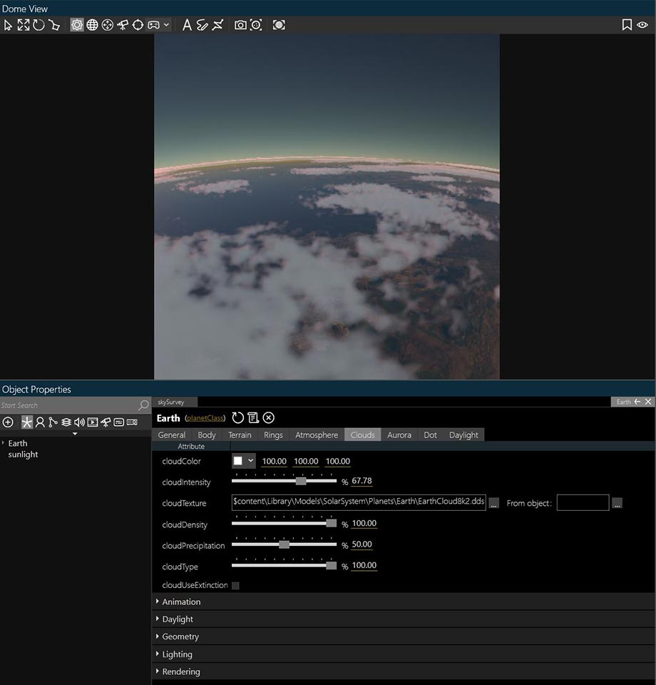 Volumetric Clouds user interface in Digistar 7