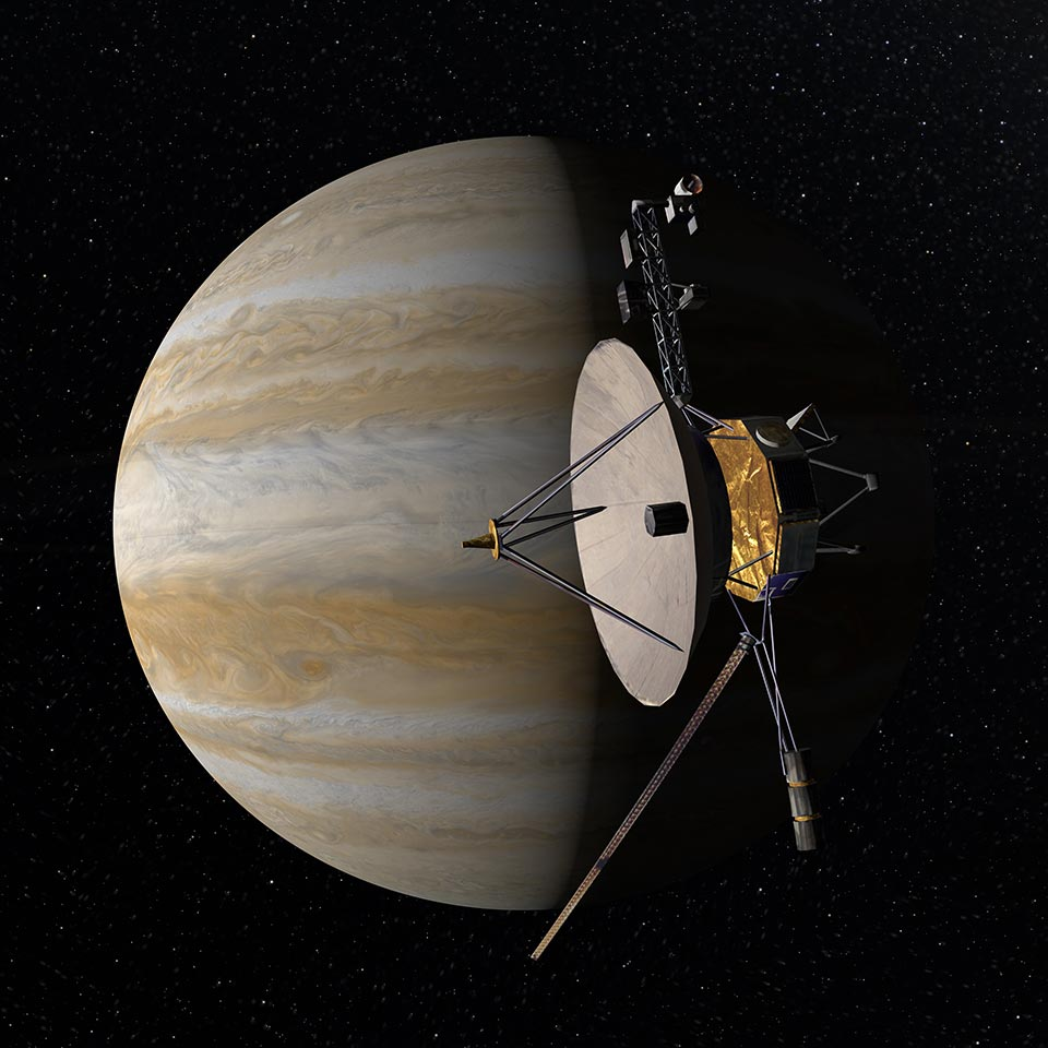 Digistar rendering of Voyager probe at Jupiter