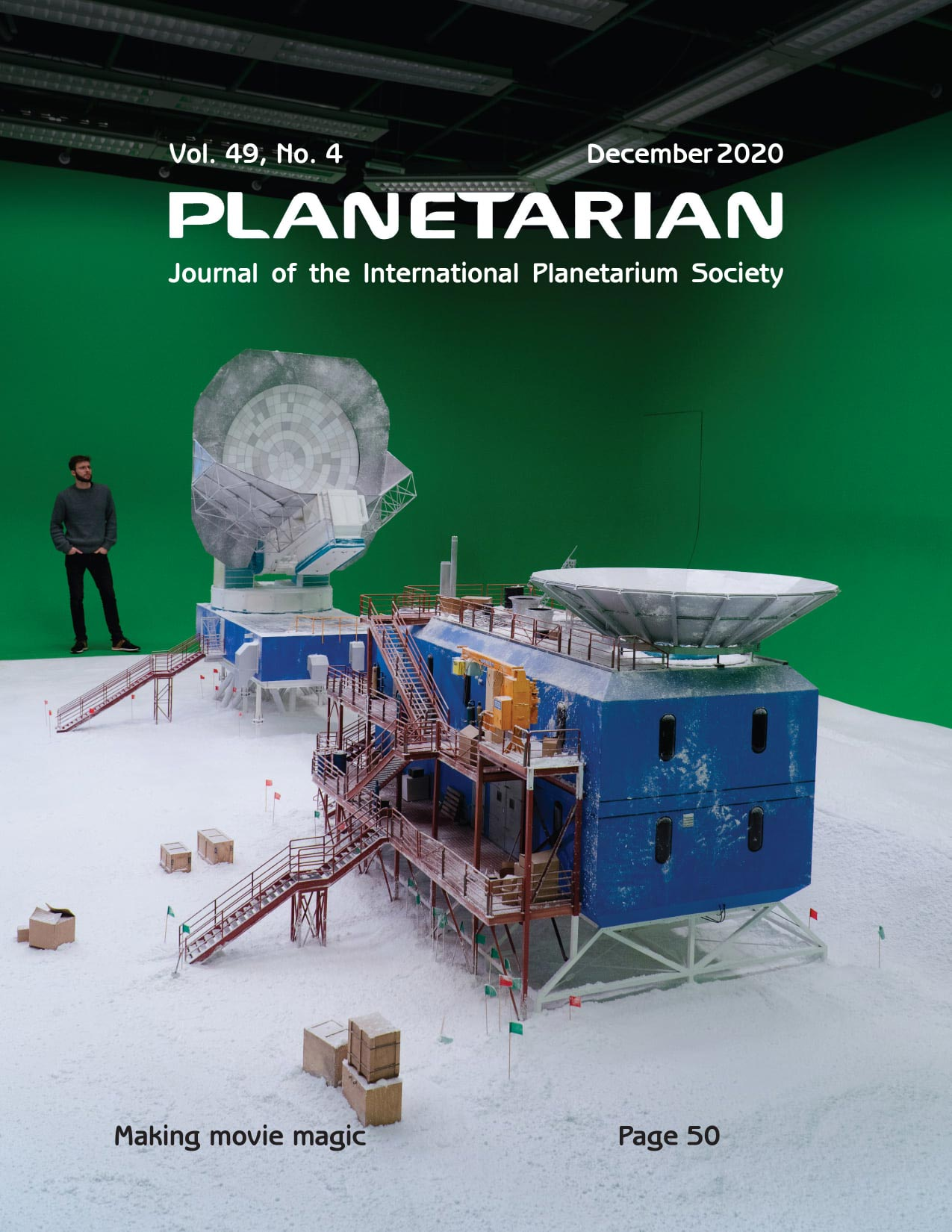 Cover of Planetarian journal featuring Robin Sip's effects production team for the new fulldome show Black Hole First Picture