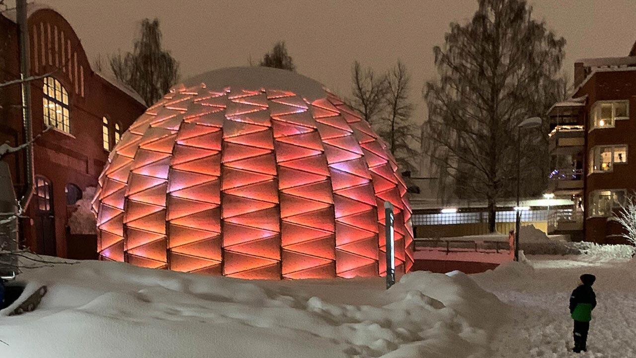 Exterior of planetarium at Curiosum in Umeå, Sweden